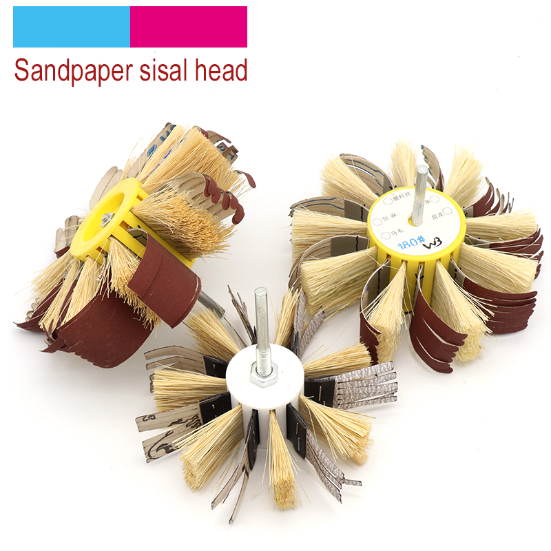 1pcs Shaft Mounted Sandpaper Sisal & Emery Cloth Bristle Grinding Polishing Brush Wheel 6mm Shank For Wood Primer Sanding