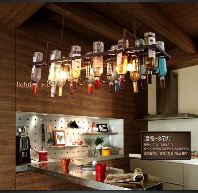 Gerecycled retro Opknoping Wijnfles Hanger Lampen licht met Edison ...