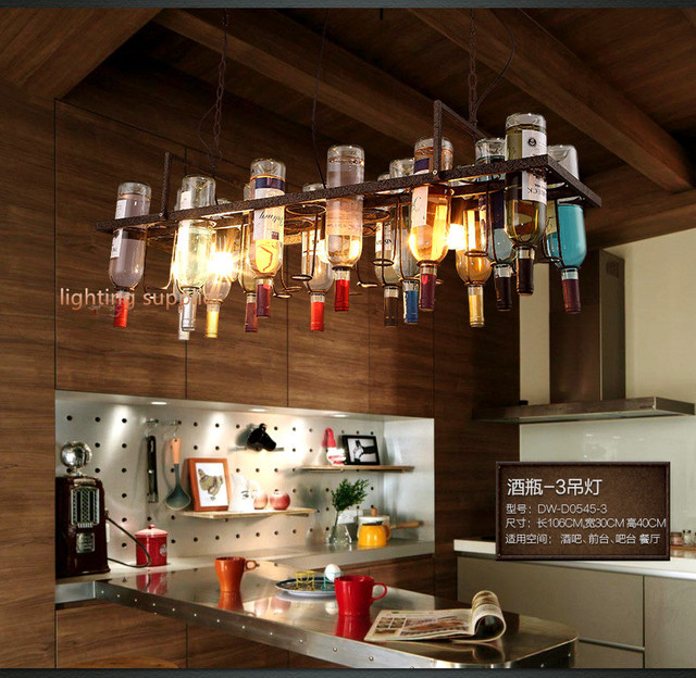 Restaurant Kitchen Lighting recycled retro hanging wine bottle pendant lamps light with edison