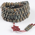 Ubeauty 15mm Natural green sandalwood 108 beads prayer men wrist bracelet Tibetan Buddha meditation necklace with handmade knot