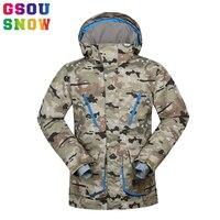 Gsou Snow 30 градусов Мужская лыжная куртка зимняя теплая камуфляжная Сноубордическая куртка водостойкая ветрозащитная дышащая мужская Лыжная