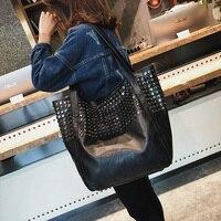 Celebrity Big Bag for Women 2018 Summer Shopper Bag Tote Rivet Large Capacity Soft Leather Casual Black Handbag Ladies Sling Bag