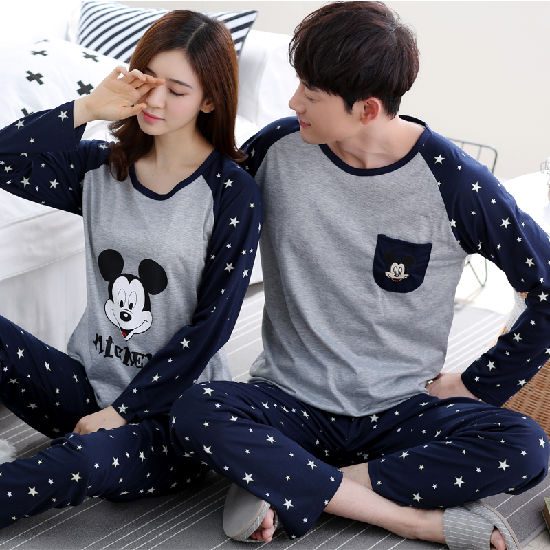 high quality Spring Autumn new Cotton Couple   Pajamas     set   Long Sleeved Sleepwear suit Men and Women casual Homewear lover   Pajamas