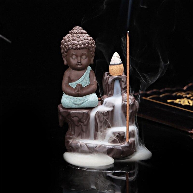 Китайский стиль Будда керамическая Курильница держатель набор с joss палочки домашний Декор Гостиная Спальня украшение офиса - Цвет: light green