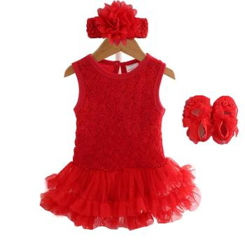 Party & Birthday Dress For 1-2 years Baby Girl Shoes+Gown