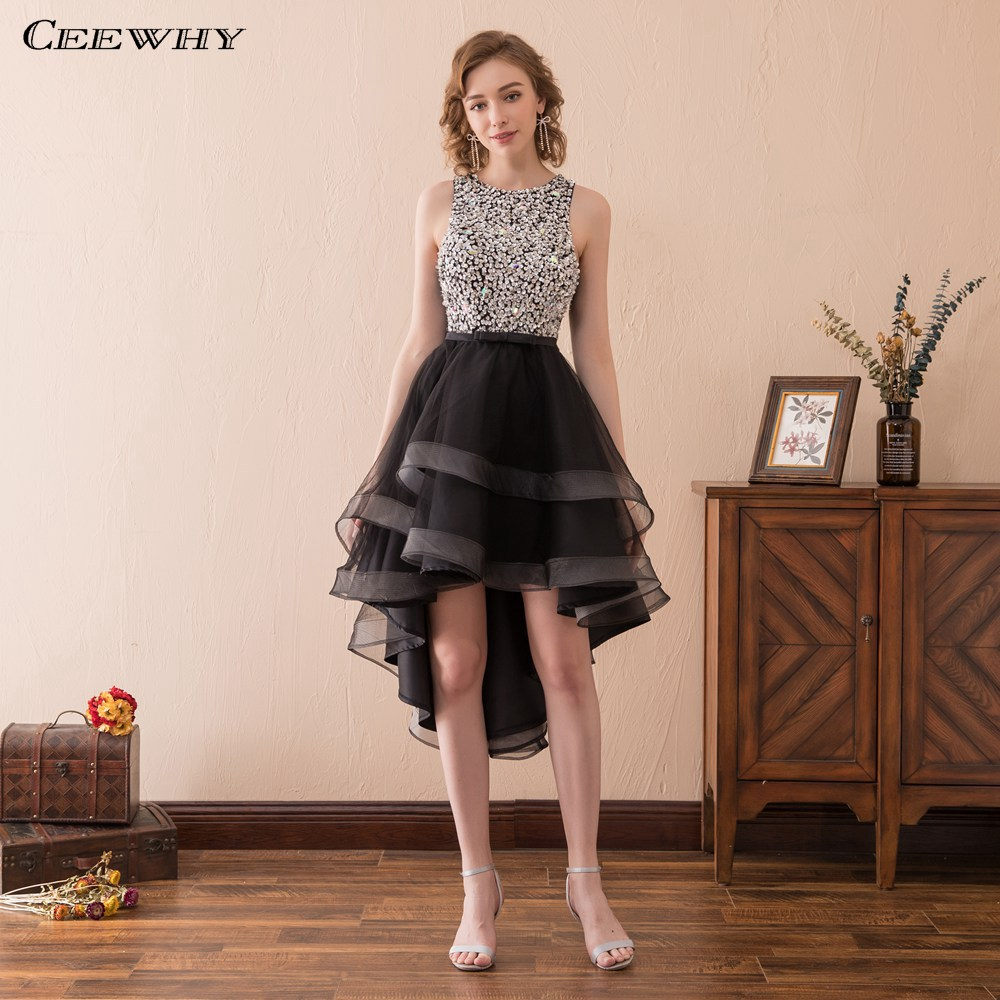 CEEWHY Open Back High low Prom Dress Black Short Evening ...