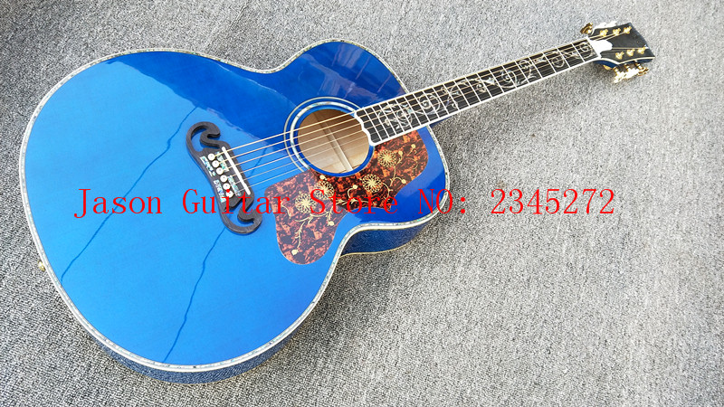 2018+Custom Chibson j200 Blue color Guitar + Solid Spruce Top + Flame Maple sides and back + Real abalone she+Free shipping free shipping best price wholesale top quality solid spruce top 12 strings j200 sunburst color acoustic guitar 14815