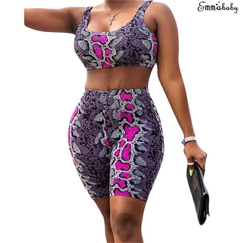 2019 Wanita Kulit Ular Kebugaran Crop Top + Celana Legging Gym Latihan Olahraga Memakai Cetak 2 Buah Set