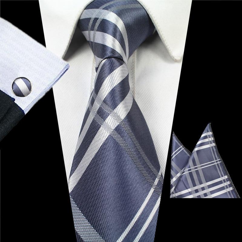 Gray Floral Black Paisley Tie Hanky Cufflinks Sets Mens 100% Silk Ties for men Formal Wedding Party Groom men shirt accessories