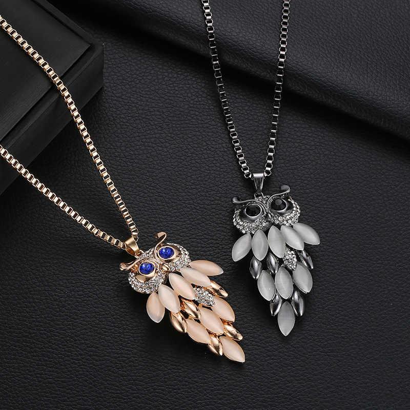 Drop Shipping Vintage wzór sowa dżetów kryształ wisiorek naszyjniki kobiety sweter naszyjnik łańcuch biżuteria akcesoria odzieżowe