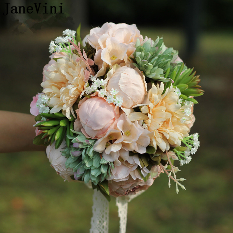 JaneVini Vintage Countryside Artificial Silk Wedding Bouquets Outside Lace Handle Wedding Flowers Brooch Bouquets Fleur Mariage