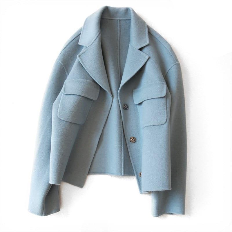 Autumn Fashion Women Wool Blends Jacket Elegant Office Lady Warm Cashmere Coat Casual Slim Turn Down