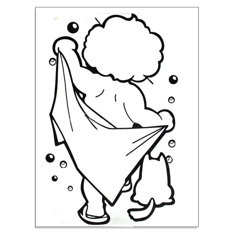 1pcs pvc removeble black kid shower wall sticker mirror door window art decal kids room bathroom home diy decoration