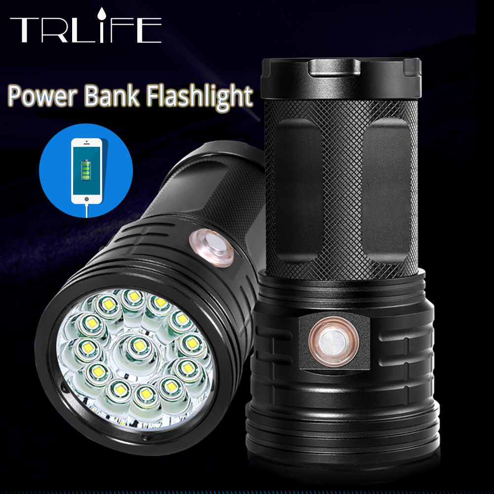 Powerful 72000 Lumen 18*T6 LED Torch LED Flashlight 3 Modes USB Charging Linterna Portable Lamp for Charging Phone Power Bank 8800mah dual usb power bank led torch
