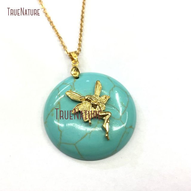 Gold color angel peace charm round turquoises man made stone simple gold color angel peace charm round turquoises man made stone simple design gold chains jewelry in mozeypictures Image collections