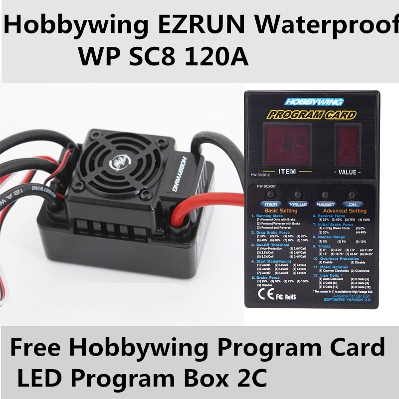 Speed Controller Hobbywing EZRUN Waterproof WP SC8 120A Brushless ESC+free Program Card LED Program Box hobbywing ezrun wp sc8 120a waterproof speed controller brushless esc for rc car crawler truck f17814