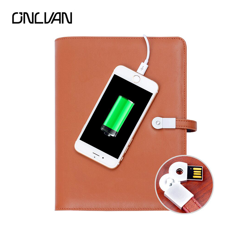 ONLVAN Business Notebook with 6000 mAh Power Bank 16G USB Leather Writing Pad Business Gift Office Supply Composition Book navy color manager notebook with 6000 mah power bank office supply document bags business travel accessories accept oem order