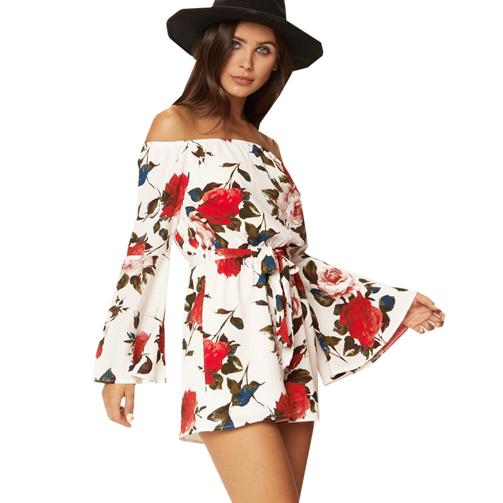 Women Summer Floral Print Jumpsuit Long Sleeve Slash Neck Combishort Fashion Flare Sleeve Bandage Shorts Romper G#1