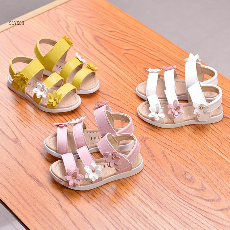 SLYXSH 2019 Summer Girls Sandals Anti-kick Toe-cap Children Shoes PU Leather With Flowers Sweet Fashion Kids Sandals size 21-36 Сникеры