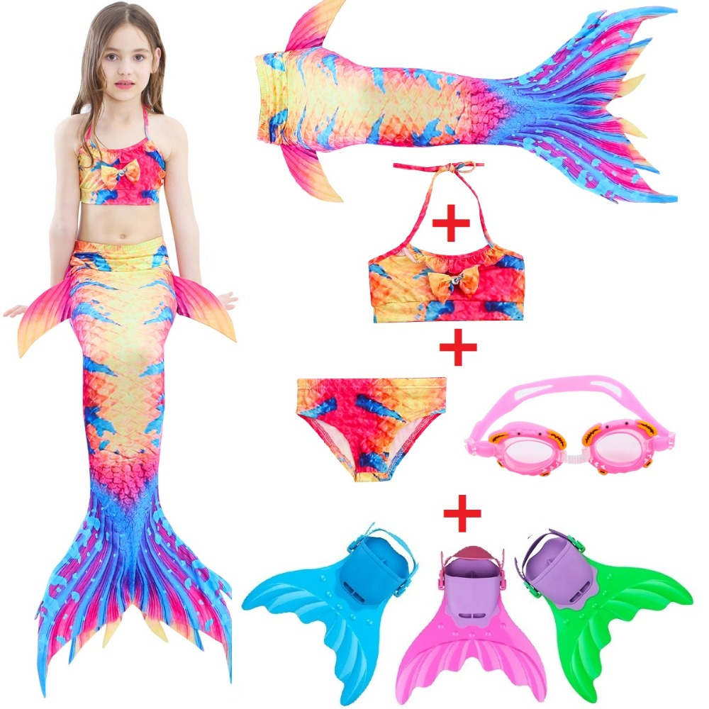 Kids Mermaid Swimsuit Girls Bikini Mermaid Tail With Finned Split Swimsuit Mermaid Dress Summer Swimsuit For Children Mother & Kids