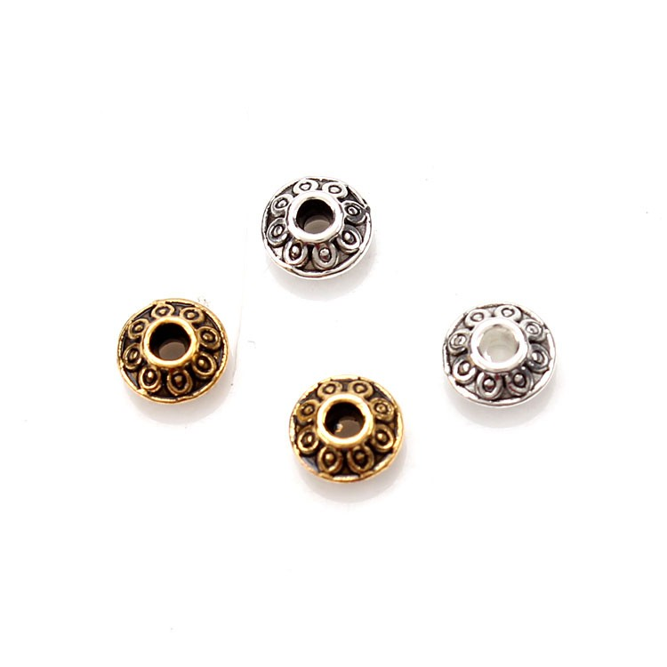 100pcs/lot Zinc Alloy Spacer Beads For Jewelry Making Accessories Buddha Beads Bracelet Jewelry Findings Components 6.4*3.2mm