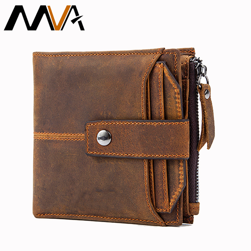 MVA Genuine Leather Wallets Men Wallets Male Purse Hasp Short Card Holder Wallet Clutch Zipper Mens Leather Wallet Coin Purse dalfr genuine leather mens wallets card holder male short wallet 6 inch cowhide vintage style coin purse small wallet