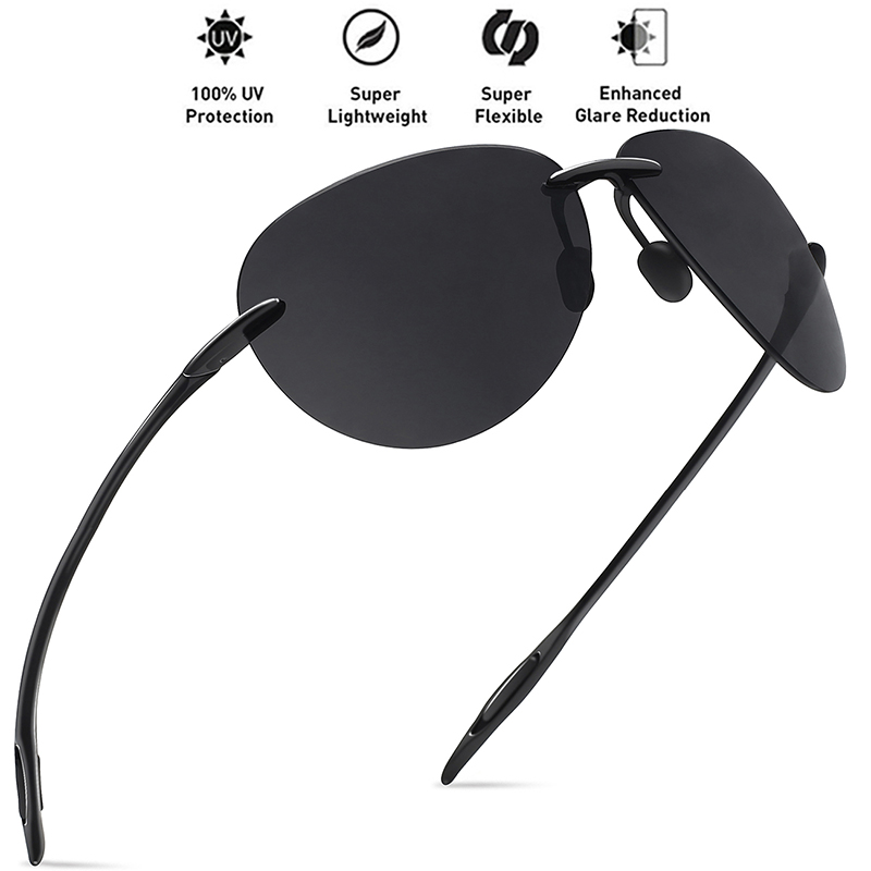 Image 3 - JULI Classic Sports Sunglasses Men Women Male Driving Golf Pilot Rimless Ultralight Frame Sun Glasses UV400 Gafas De Sol MJ8008-in Men's Sunglasses from Apparel Accessories
