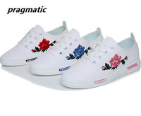 Fashion Embroidery Rose Women White Casual Shoes Flats Female Soft Breathable Walking Shoes Lady Cute Students