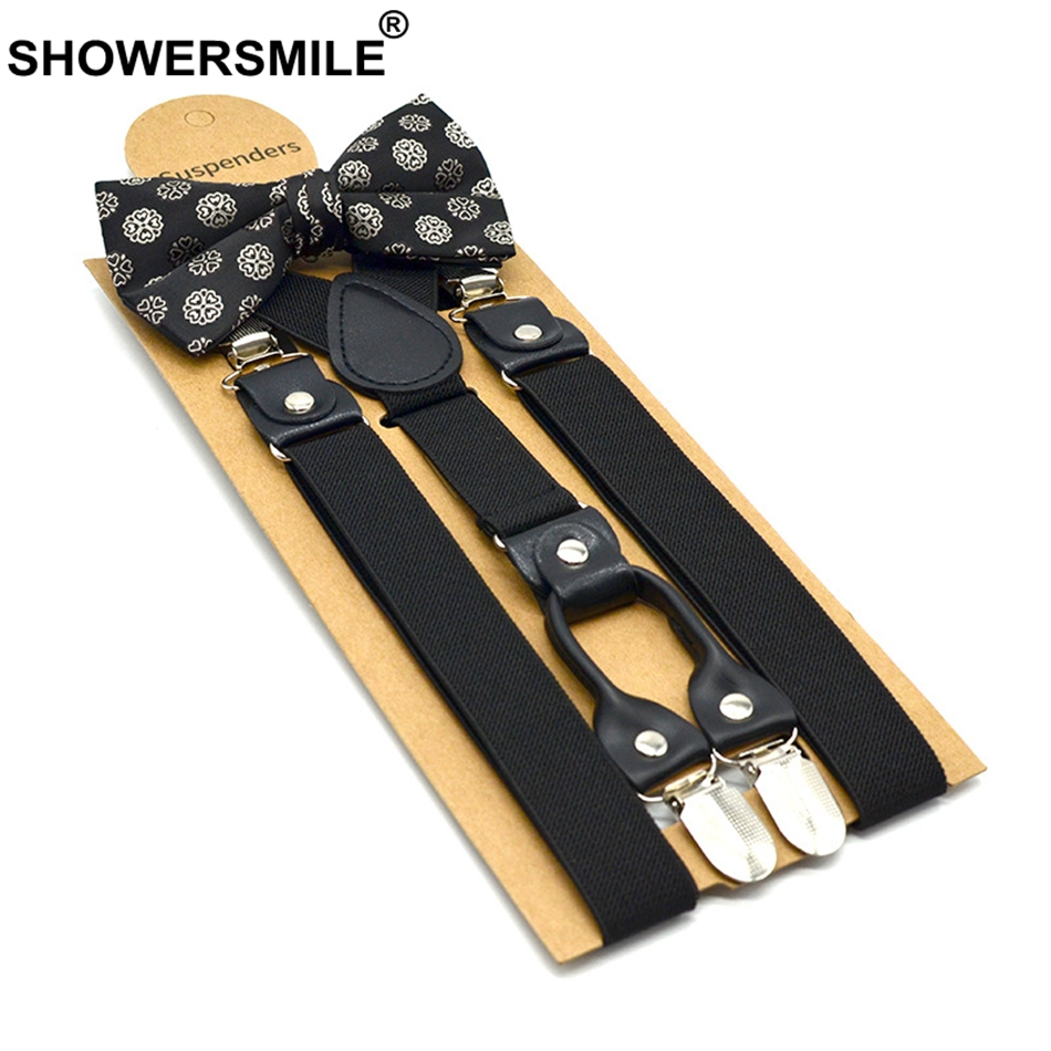SHOWERSMILE Mens Trouser Suspenders 4clips Y Back Pants Strap Solid Black High Elasticity Adjustable Fashion Male Suspenders Bow