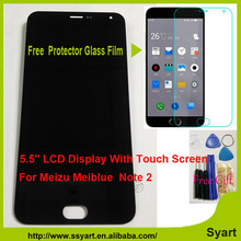 """1pcs black Meiblue Note 2 LCD Display Touch Digitizer Genuine Glass Panel Screen For Meizu M2 Note 1920×1080 FHD 5.5"""" In Stock"""