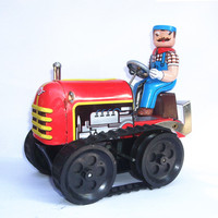 [Funny] Adult Collection Retro Wind up toy Metal Tin Farmer on Agricultural machinery tractor Mechanical Clockwork toy figures