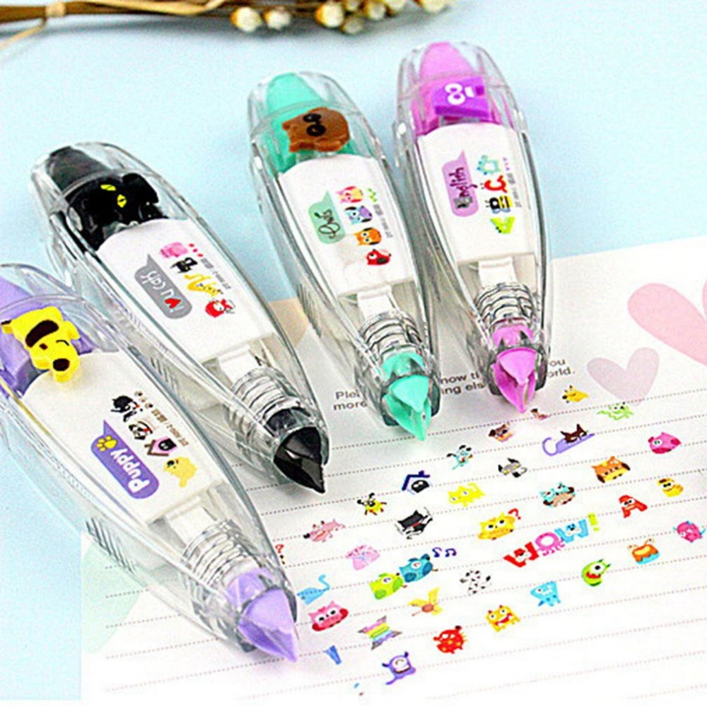2018 Newest Animals Press Type Decorative Correction Tape Diary Stationery School Supply Hand Account Decoration
