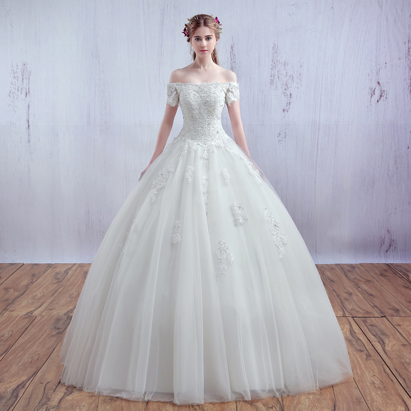 SOCCI Luxury French Tulle Lace Short Sleeve Vantage Bride Boat Neck Strapless Wedding Dress Bridal Ball Gowns Vestido De Noiva In Dresses From
