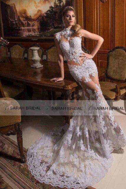 c627555db Sexy Designer Mermaid Wedding Dresses Cut Out High Neck Sheer Wedding Gowns  Grace Loves Lace Vestido De Noiva Sereia HS260