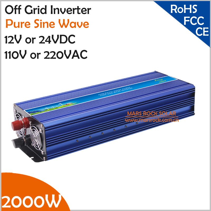 2000W Off Grid Pure Sine Wave Inverter, Surge Power 4000W 12V/24VDC to 110V/220VAC Single Phase Solar or Wind Power Inverter 800w off grid inverter surge power 1600w 12v 24vdc to 110v 220vac pure sine wave single phase inverter for solar or wind system
