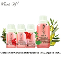 100% Pure Plant Essential Oil Cypress / Geranium / Patchouli / Argan oil 10ml Convergence Pores Red Blood Firming Body