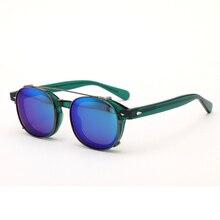Clip On Sunglasses Polarized Lens Johnny Depp Glasses Men Green Acetate Optical Frame Women Brand Design Top quality 082