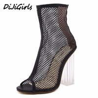 Yuemeifei Summer Peep Toe Ankle Sandals Boots Crystal Square Heels Women S Mesh Hollow Out High