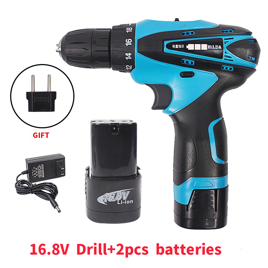 16.8V Cordless Screwdriver Electric Drill Two-Speed Rechargeable 2pcs Lithium Battery Waterproof Hand LED Light 25v cordless drill electric two speed rechargeable 2pcs lithium battery waterproof drill led light