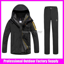 Dropshipping High-quality new double layer outdoor jacket 2in1 waterproof windproof breathable ski pants winter ski suit men
