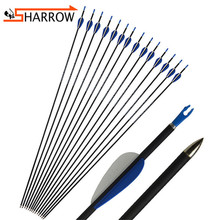 6/12pcs 32 Archery Spine1200 Carbon Fiberglass Arrow Rubber Feather OD 5.6mm Compound/Recurve Bow Shooting Hunting Accessories