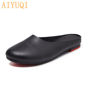 Image 5 - AIYUQI  Women Slippers 2020 Spring New Genuine Leather Women Shoes big Size 41 42 43 Flat Casual Summer Half Slippers Women