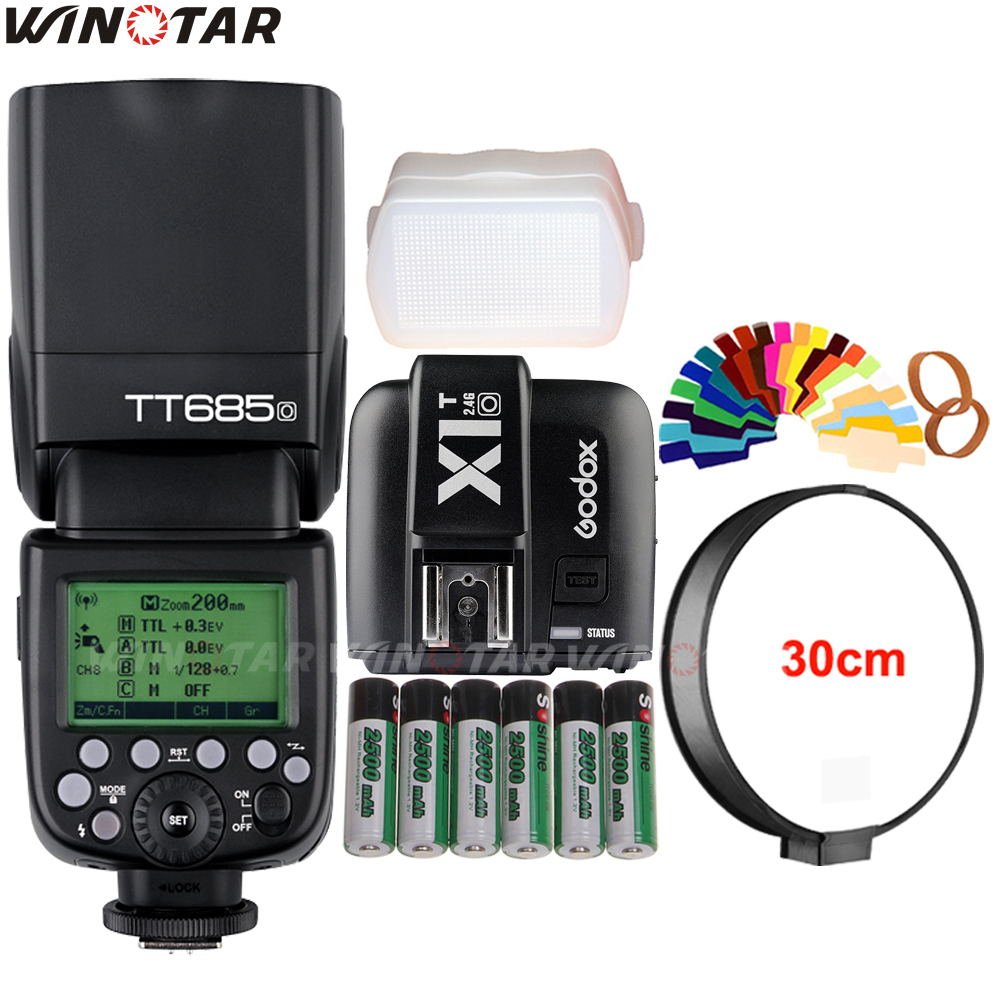 Godox TT685O 2.4G Wireless HSS 1/8000s TTL Flash Speedlite +X1T-O Trigger +6x 2500mAh Rechargeable Battery for Olympus/Panasonic godox v860iic v860iin v860iis x1t c x1t n x1t s hss 1 8000s gn60 ttl flash speedlite 2 4g transmission godox softbox filter