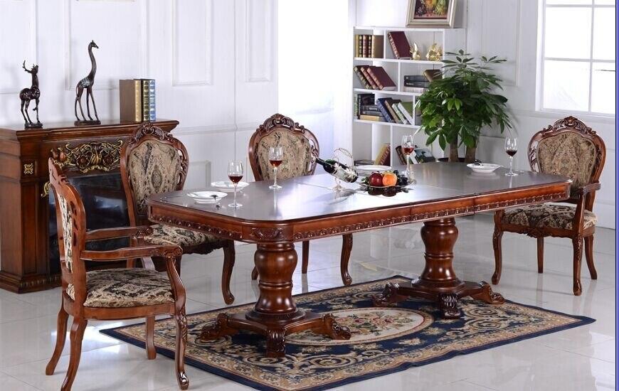 rojo color roble de madera maciza muebles de comedor set para mesa cuadrada y sillas de foshan china