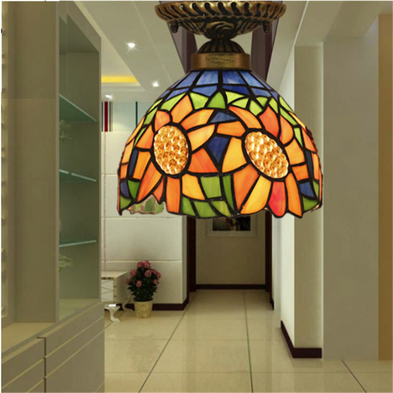 Tiffany ceiling lamp ,American,European Baroque,Med ,Bohemia surface mounted tiffany light,20cm sunflower ceil lampTFC-027-20CM