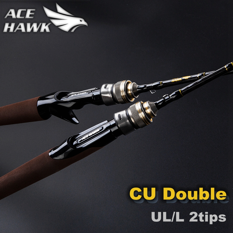 ACE HAWK CU 1.8m Fast Action UL/L Double Tips Carbon Spinning Baitcasting Fishing Rod