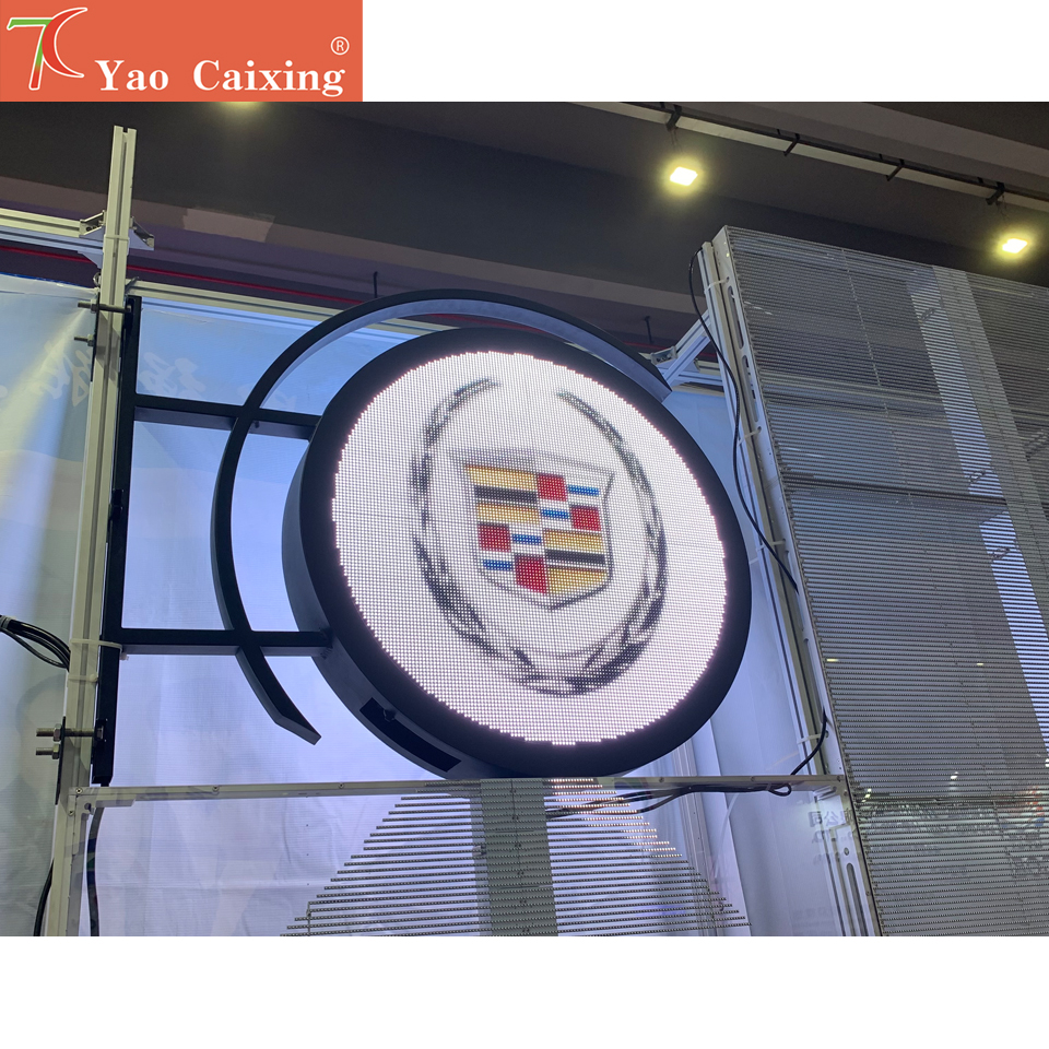 DIY Outdoor RGB Full Color Circular Logo Screen IP67 Two Sides Led Display Use For Shops Store