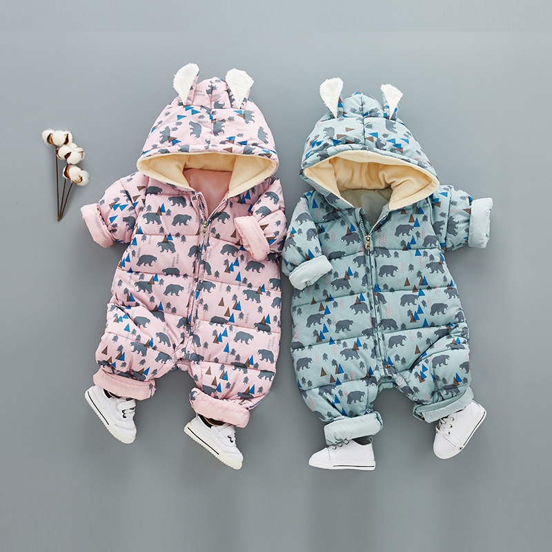 baby boys girl clothes new hot long sleeve newborn infantil kids rompers winter toddler Hooded Jumpsuit clothing outerwear 3-12M