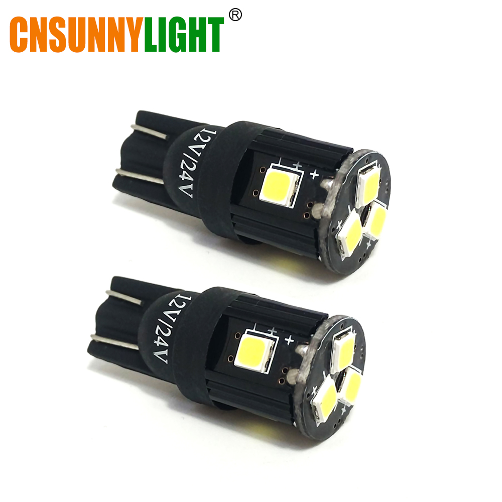cnsunnylight Official Store T10 w5w LED Car SMD Bulbs 194 168 Clearance Light Brake Turn Signal Wedge Side Tail Parking Door Map Lighting Trunk Laggage Lamp