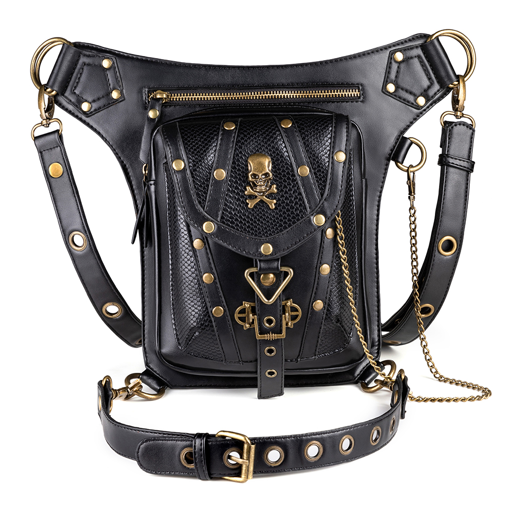 Norbinus crâne Rivet femmes taille sacs Steampunk goutte jambe sac hommes moto cuisse sac gothique Punk Rock ceinture Fanny Packs poche-in Taille Packs from Baggages et sacs    1